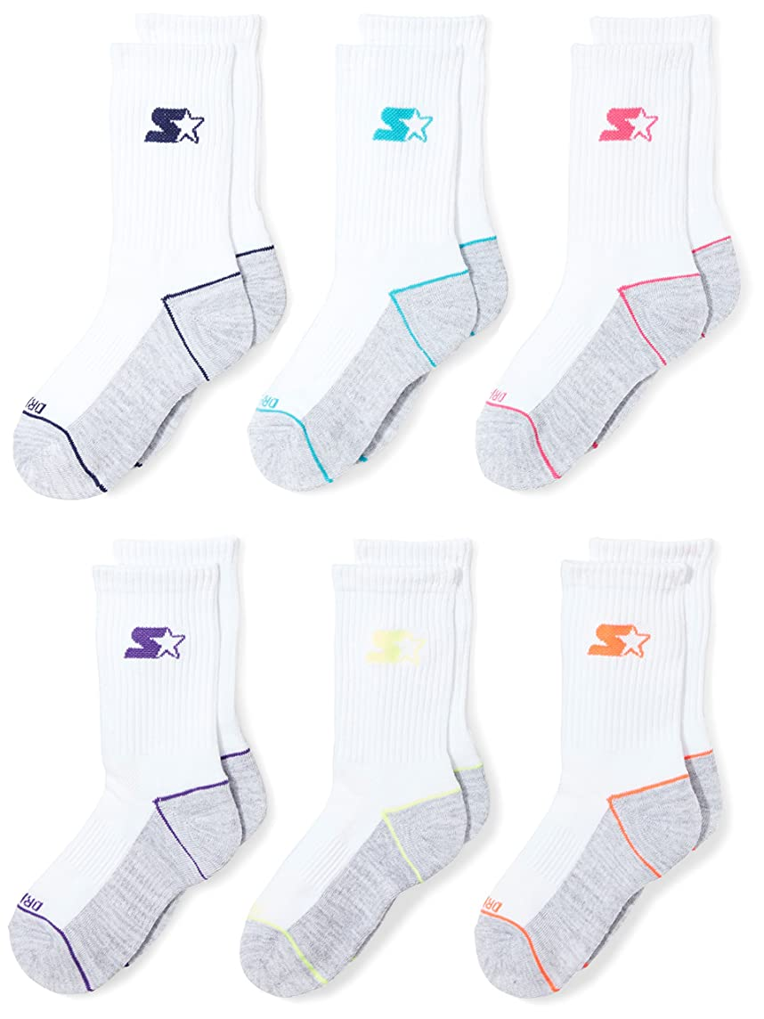 Starter Girls' 6-Pack Athletic Crew Socks, Amazon Exclusive