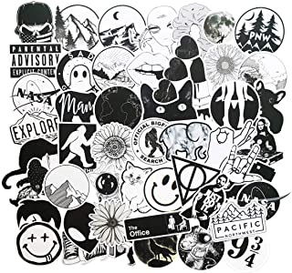 Stickers for Water Bottles Big 50-Pack Cute Cartoon Aesthetic Trendy Stickers for Teens,Girls,Kids Perfect for Waterbottle Laptop Phone Travel Extra Durable 100% Vinyl (Black & White)
