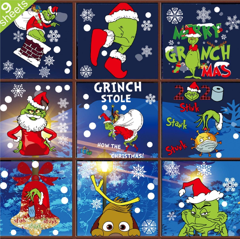 Grinch lowest price Window Clings Christmas shop Decals - De Sheet 9