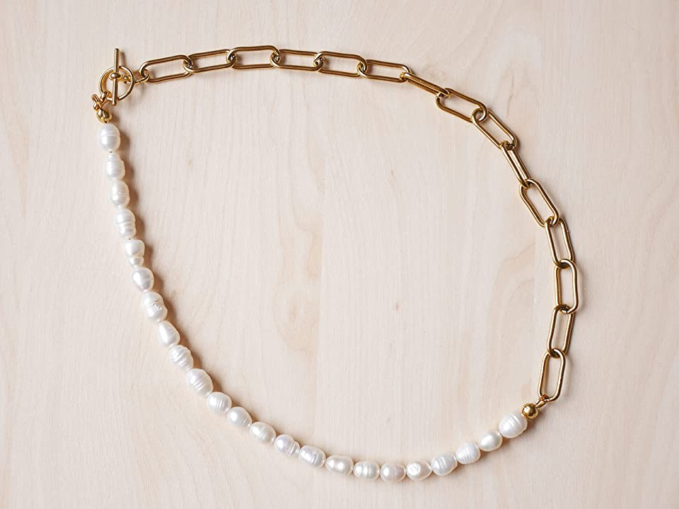 Chunky chain pearl necklace – Half pearl half chain necklace - Genuine pearl chain gold necklace – Freshwater pearls with chain necklace (17 inch = 44 cm)