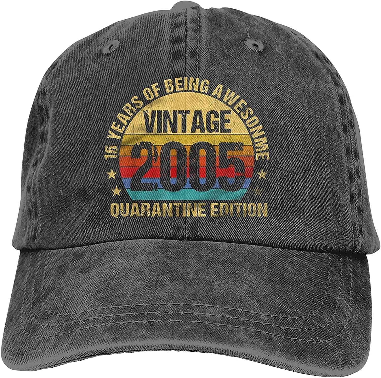 16th Vintage Retro Limited Edition 2005 Quarantine Birthday Baseball Cap, Adjustable Size Dad Hat, Vintage Baseball Hats for Men Woman