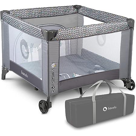 LIONELO Fie 3 in 1 Box bambini pieghevole box neonati lettino da viaggio dalla nascita fino a 15 kg con entrata laterale borsa per il trasporto, grigio