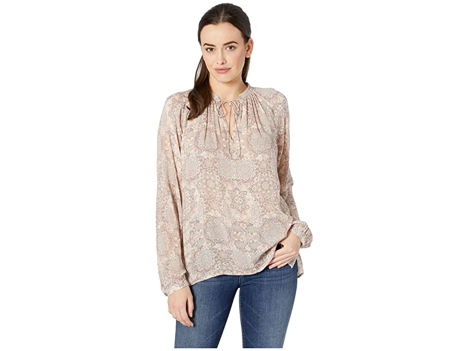 Lucky Brand Printed Peasant Top (Pink Multi) Women's Long Sleeve Pullover