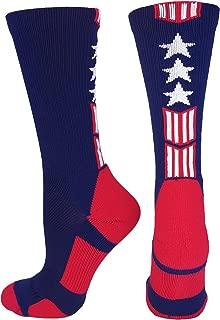 MadSportsStuff Patriot USA Flag Stars and Stripes Athletic Crew Socks (Multiple Colors)