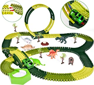Dinosaur Toys 232 PCs Race Tracks, Create A Dinosaur World Road Race, Flexible Track Playset with a Race Car and 6 Toy Dinosaurs