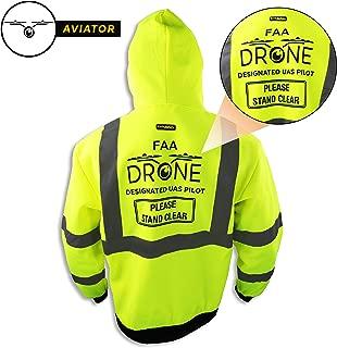 KwikSafety (Charlotte, NC) AVIATOR | Class 3 Fleece Drone Hoodie Premium (No Fuzz Balls or Lint) Durable Zipper Construction Work Wear Hi Vis Reflective ANSI Compliant OSHA Approved Safety Jacket M