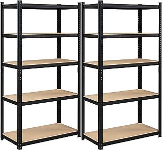 SONGMICS Étagères charge lourde métallique, lot de 2, 200 x 100 x 50 cm, 5 niveaux, charge totale 875 kg (175 kg/niveau), ...