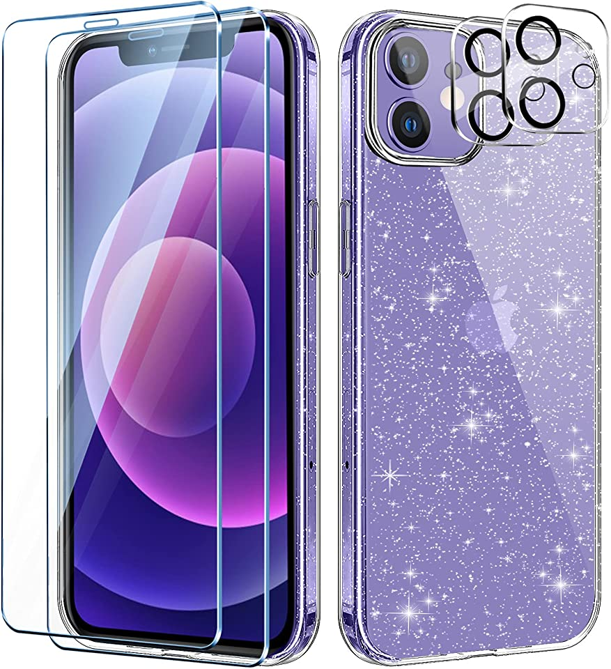 AROYI Clear Glitter Case Compatible with iPhone 12 mini 5.4-inch Case with 2 Pack Tempered Glass Screen Protector and 2 Pack Camera Lens Protector, Soft Bumper Anti-Scratch Transparent Sparkle Cover