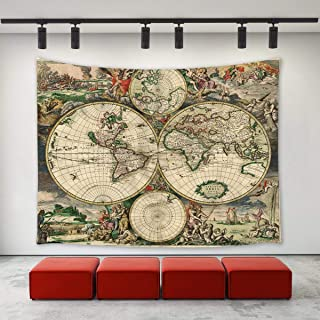BAOQIN Tapiz Ancient Old World Map Tapestry Wall Hanging Vintage Retro Antique Ancient Old World Map 1689 Wall Art Home Decoration Wall Tapestries for Bedroom Living Room Dorm Decor 90