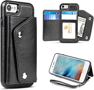 For iPhone 8,iPhone 7 Wallet Case, WenBelle Leather Case With Credit Card Holder Slot & lanyar,Double Magnetic Clasp and Durable Shockproof Protective Case for Apple iPhone 7/8 4.7 inch (Black)