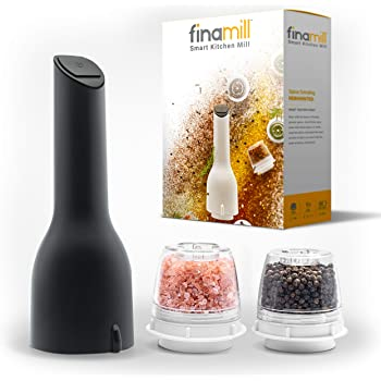 FinaMill - Award Winning Battery Operated Spice Grinder – Adjustable Coarseness, Durable Ceramic Grinding Elements, One Touch Operation, LED Light, Easy to Refill, includes 2 Quick-Change Spice Pods.