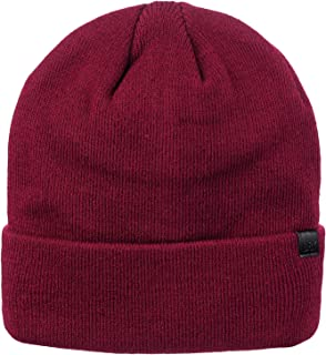D&Y Unisex Slouchy Convertible Solid Cuffed Beanie Double Layered for Warmth