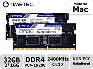 Timetec Apple 32GB Kit (2x16GB) DDR4 2400MHz PC4-19200 Unbuffered Non-ECC 1.2V CL17 2Rx8 Dual Rank 260 Pin SODIMM Apple Memoria principal Module Upgrade (32GB Kit (2x16GB))