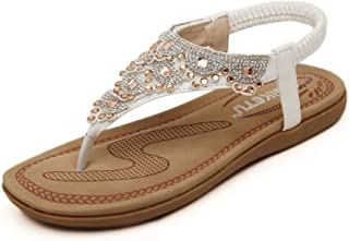 c942704a67fe7a D2C Beauty Women s Bohemia Rhinestone Beads Flat Thong Sandals