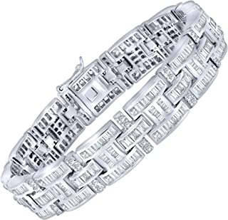 Men's Elegant Sterling Silver .925 Bracelet with 298 Highest Quality Channel-Set Simulated Diamond Princess-Cut Cubic Zirconia (CZ) Stones, Secure Box Lock, Platinum Plated. Available in sizes 8