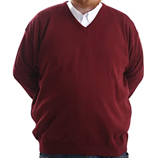 Brooklyn Clothing Mens Big Size V Neck Jumpers Soft Feel Acrylic Classic Fit King Size Sweater Long Sleeve