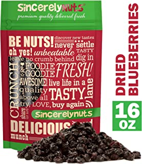 Sincerely Nuts Dried Blueberries (1 LB) Gluten-Free, Vegan & Kosher Snack - Fresh from USA - Bulk, Delicious Dried Fruit for all your Smoothies, Baking, Pancakes and Salads Needs