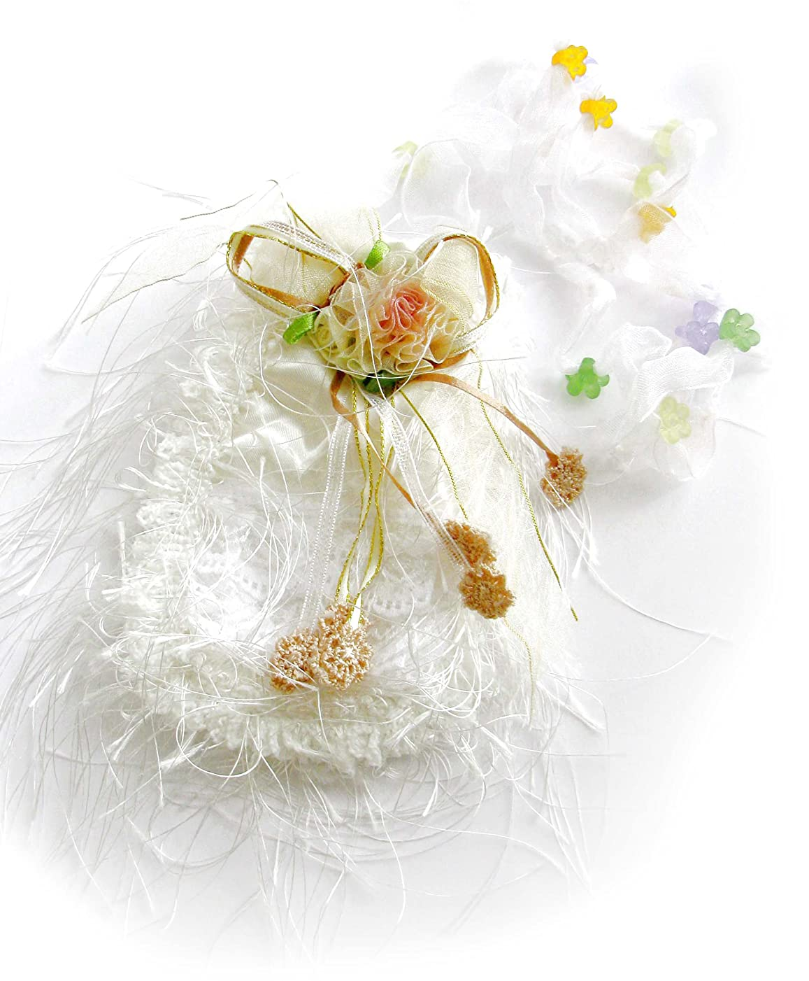 Linpeng SJW-White White in Color, Decorated with Ribbon Flower, Lace, Beads & Tassel Little Girls Purse Pouch
