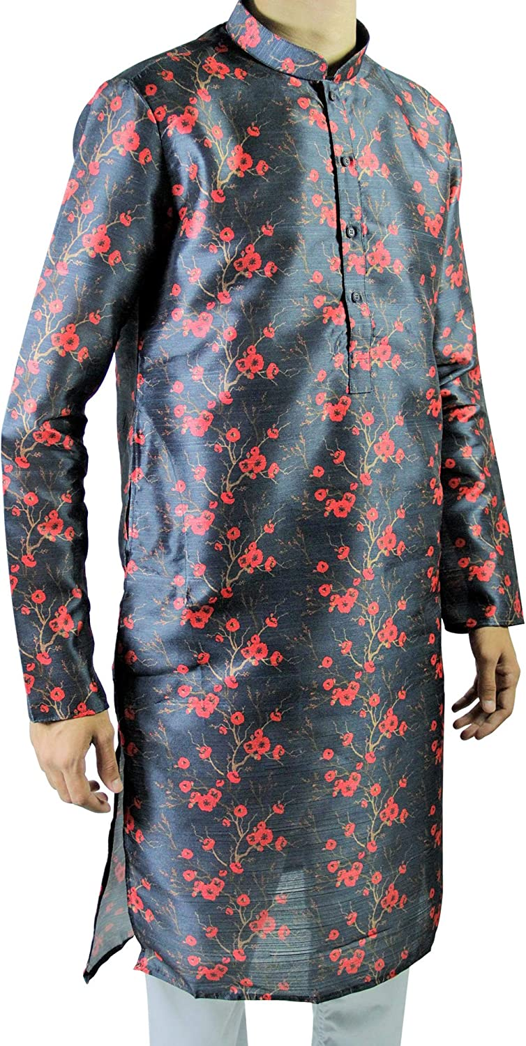 67% OFF of fixed Surprise price price Hijaz Men's Dark Blue Formal Silky Cherry Blossom Cotton As Long