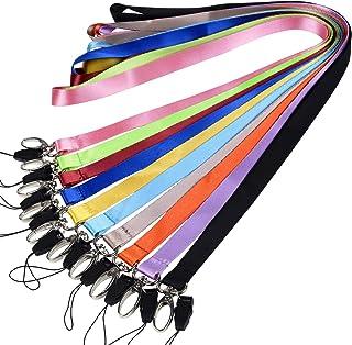 Wisdompro Lot de 10 cordons de cou en polyester avec fermoir ovale pour porte-badge, carte d'identité, clés, porte-clés, U...