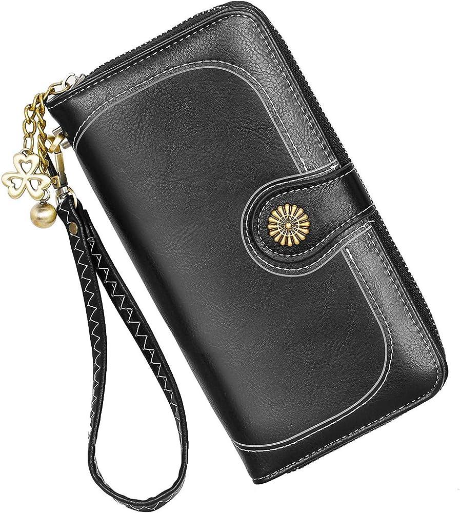 Y yongyuan portafoglio porta carte di credito per donna in ecopelle Classico Nero