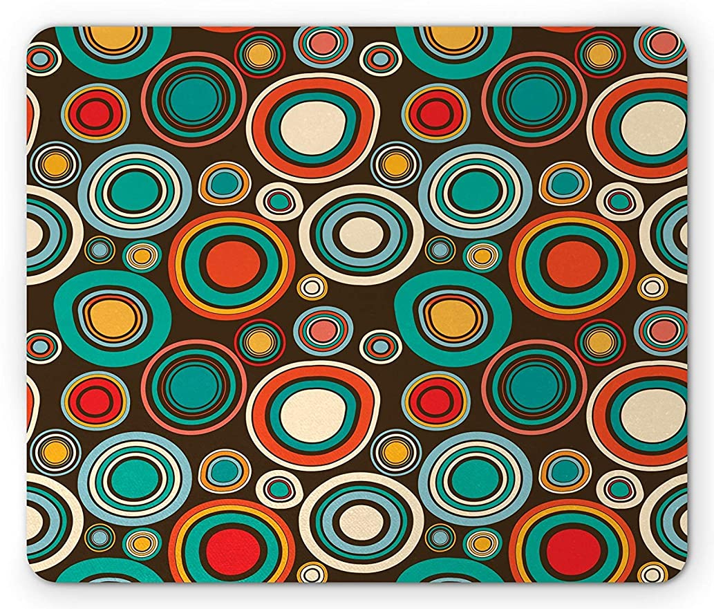 Retro Mouse Pad, Vintage Style Round Shapes Colorful Bullseye Circles Pattern on Dark Brown Background, Standard Size Rectangle Non-Slip Rubber Mousepad, Multicolor,8.66 x 7.08 x 0.118 Inches