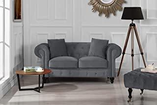 Furniture Classic Modern Scroll Arm Velvet Chesterfield Love Seat Sofa (Grey)