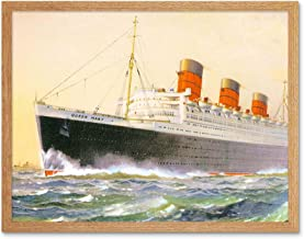 Wee Blue Coo Painting Ship Sail Boat Rms Queen Mary Art Print Framed Poster Wall Decor 12x16 inch