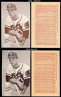 1963 Exhibits Stat backs (Baseball) Card# 43 Eddie Mathews of the Milwaukee Braves VG Condition