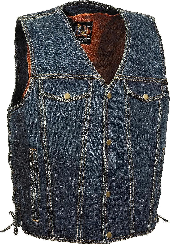 Milwaukee Leather Men's Side Lace Denim Vest W/Chest Pockets Blue Large