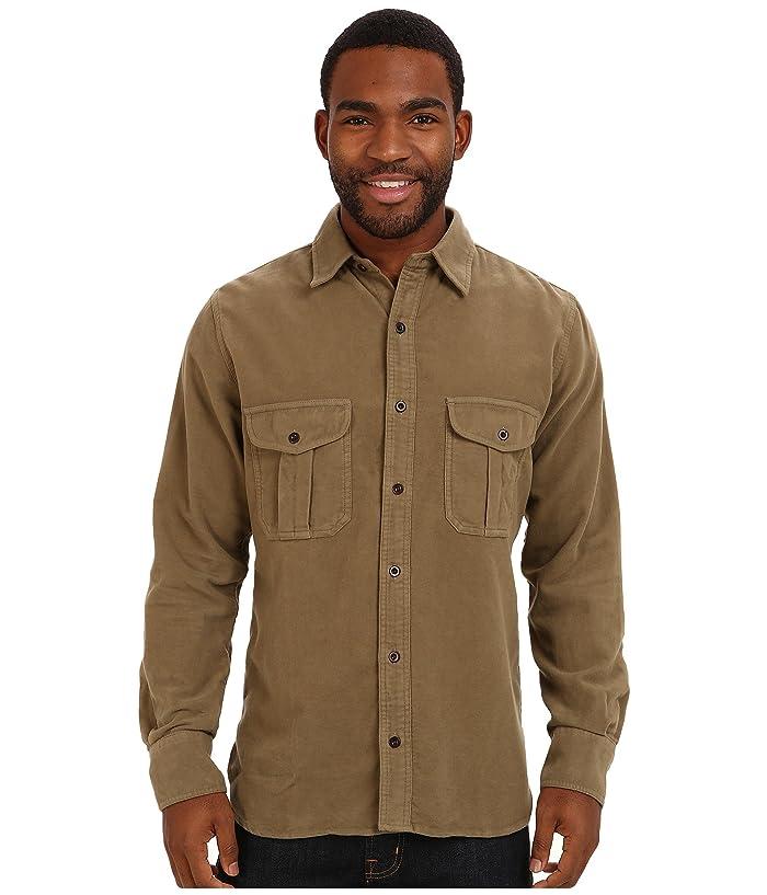 Mens Vintage Shirts – Casual, Dress, T-shirts, Polos Filson Moleskin Seattle Shirt Lovat Mens Long Sleeve Button Up $155.99 AT vintagedancer.com