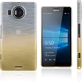 Xcessor Transition Flexible TPU Case with Gradient Silk Thread Texture for Microsoft Lumia 950 XL - Transparent/Gold