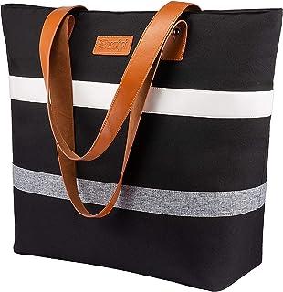 Sucipi Strandtasche Damen,Faltbare Einkaufstasche Große(42 x 41 x 18 cm) mit Reißverschluss und Kühlfach für Lebensmittelt...