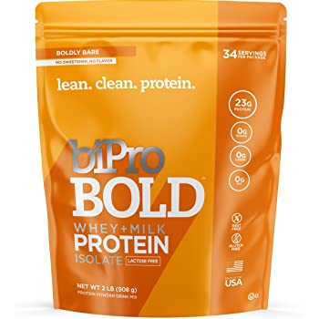 BiPro Bold Whey + Milk Protein Powder Isolate, Boldy Bare Unflavored 2 Pounds - Sugar Free, Lactose Free, Gluten Free, Contains Prebiotic Fiber