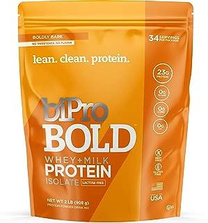 BiPro Bold Whey Protein Powder Protein Isolate + Milk Protein Isolate, Unflavored, 2 Pound