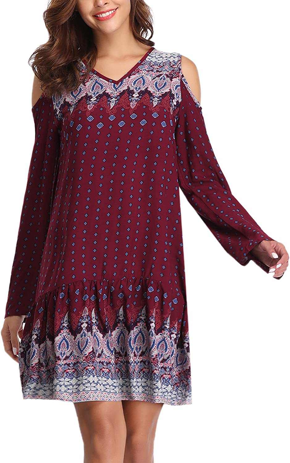 Abollria Women's Bohemian Vintage Printed Loose Casual Boho Tunic Dress
