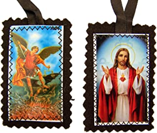 Religious Art Sacred Heart Jesus Christ with Archangel Saint St Michael Brown Cloth 21 Inch Scapular Necklace