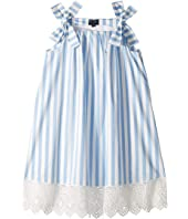 Oscar de la Renta Childrenswear - Stripped Cotton Day Dress (Little Kids/Big Kids)