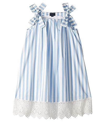 Oscar de la Renta Childrenswear Stripped Cotton Day Dress (Little Kids/Big Kids) (Cornflower) Girl