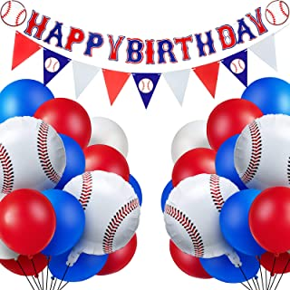 52 Pieces Baseball Themed Birthday Party Decorations Including 1 Happy Birthday Banner, 1 Triangle Bunting Flag and 50 Bas...