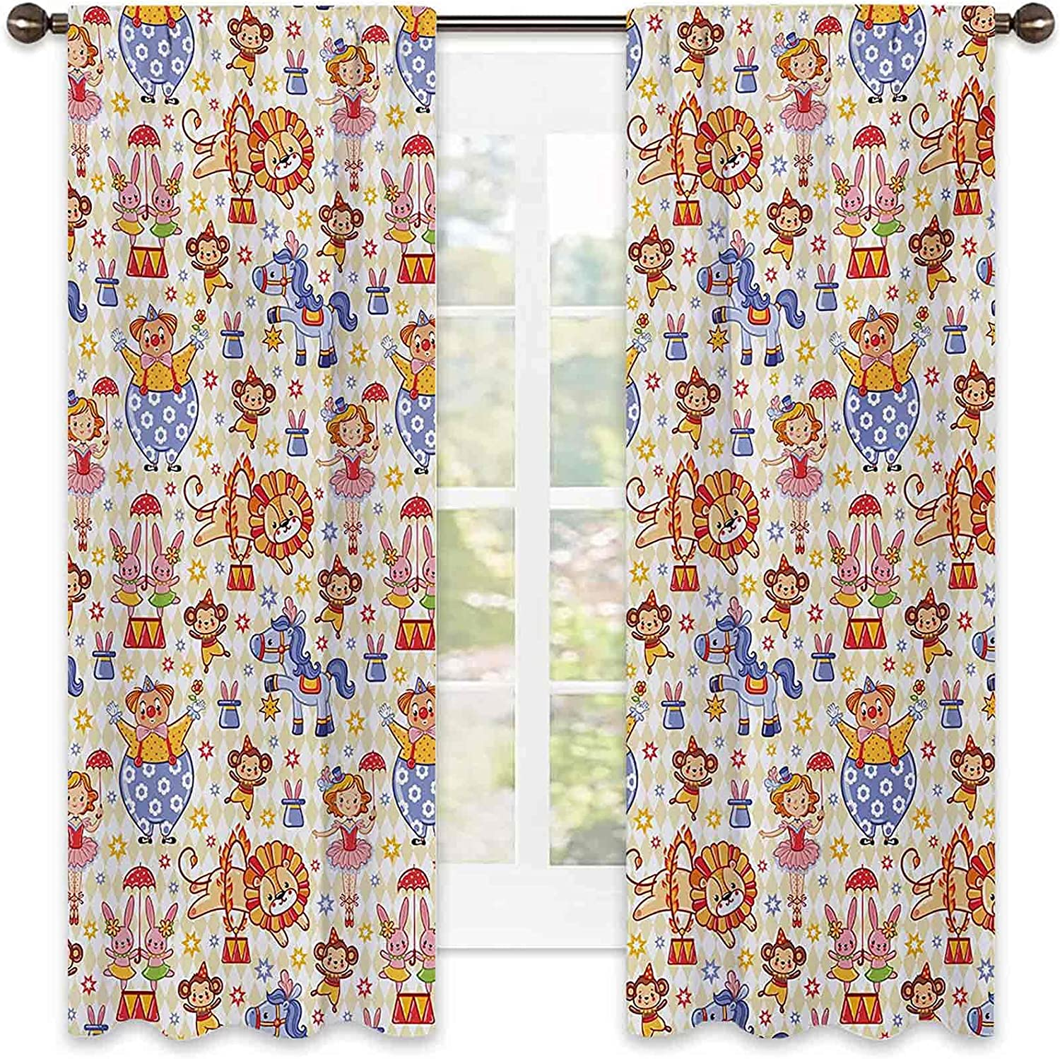 Bedroom Max 90% OFF Rod Pocket Max 55% OFF Blackout Kids Theme Circus Curtains Carnival