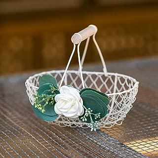 Petite Ivory Flower Girl Basket - Metal Wedding Basket w/Wood Handle - Flower Petal Toss Petal Basket - Petal Toss Basket by Ragga Wedding