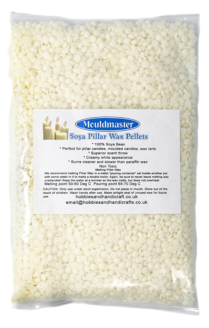 Mouldmaster Soy Pillar Candle Wax pellets 1Kg, SOYA, Cream/Off White, 24 x 12 x 1 cm