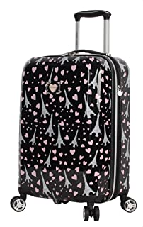Betsey Johnson Designer 20 Inch Carry On - Expandable (ABS + PC) Hardside Luggage - Lightweight Durable Suitcase With 8-Rolling Spinner Wheels for Women (Paris Love)