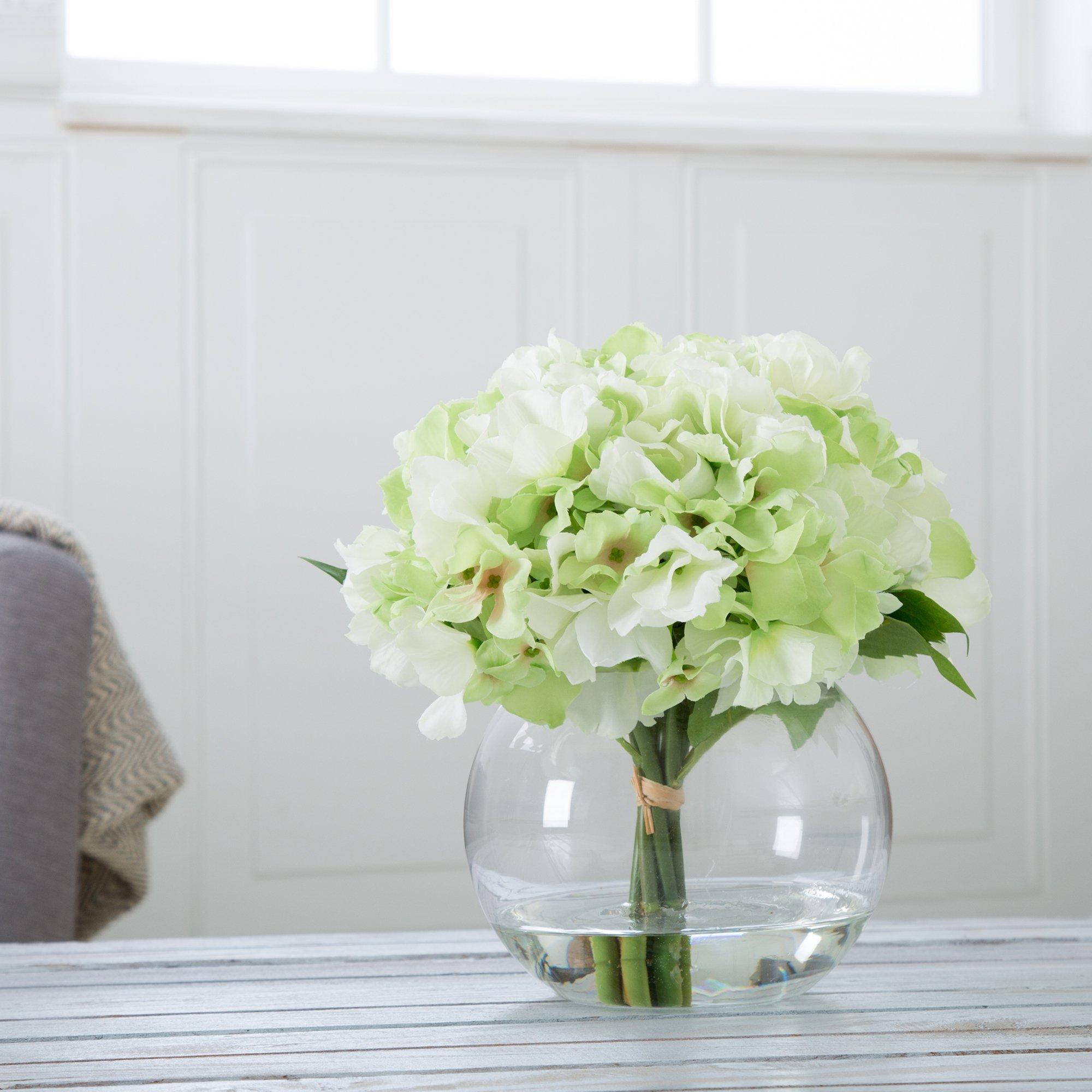 Pure Garden Hydrangea Floral Arrangement with Glass Vase - Green & Small Faux Flower Arrangements with Vase: Amazon.com