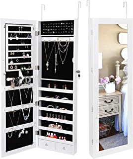 SUPER DEAL Jewelry Armoire Lockable Jewelry Cabinet Wall/Door Mounted Jewelry Organizer..