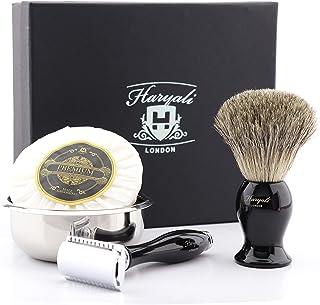 DE Safety Razor Gift Set met 4 verschillende item in het zwart (zwart dassenhaar scheerborstel, DE Safety Razor (geen mess...