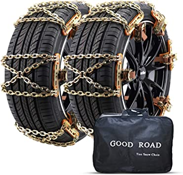 Nyo Snow Chains, Tire Chain for Passenger Cars, Anti Slip Emergency Tire Chains, Snow Wheel Chains for Most Cars SUV ATV Trucks - 6 Pack for Universal Tyre Width: image