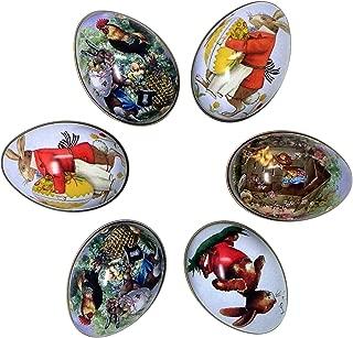 Tin Easter Eggs, Vintage Rabbit Bunny Chicken Chick Rooster Flower Basket Metal Eggs(6)