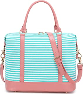 Women Weekender Bag Overnight Travel Tote Carry-on Duffle Bag with Shoulder Strap for Luggage (A Pink-teal stripe)
